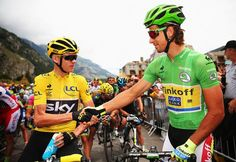 Yellow jersey Chris Froome and green jersey Peter Sagan shake hands at the start of stage 20 (Getty Images Sport)