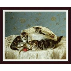Global Gallery Kittens Up To Mischief by Horatio Henry Couldery Framed Painting Print Size: