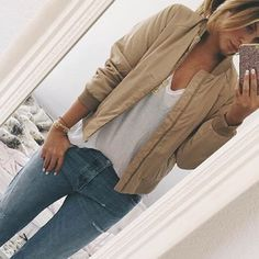 Tan Bomber Jacket Brand new! Same exact one shown styled by blogger. All the way from Sweden. No trades or Paypal. Usually ships next business day. Offers will only be considered through offer button. Jackets & Coats