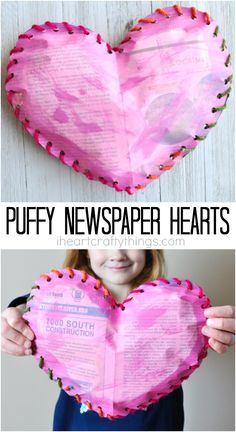 This painted newspaper puffy heart craft is a fun Valentine's Day craft for kids that uses recyclable materials and works fine motor skills.