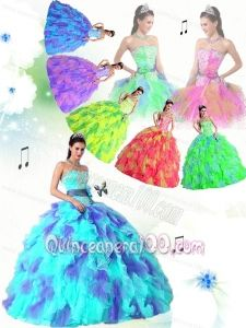 All Colors Strapless Sweet Sweet 16 Dresses with Appliques and Ruffles for 2014 New