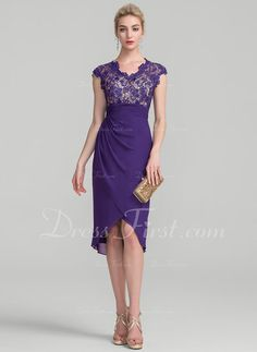 Sheath/Column V-neck Asymmetrical Chiffon Lace Mother of the Bride Dress With Ruffle - DressFirst Tea Length Dresses, Short Dresses, Formal Dresses, Bride Dresses, Bridesmaids And Mother Of The Bride, Lace Dress Styles, Groom Dress, Quinceanera Dresses, Wedding Party Dresses