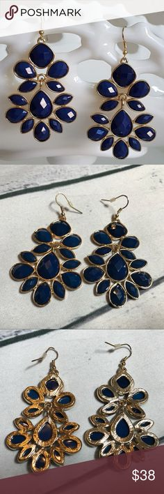 ❤️ Beautiful Blue Chandler Raindrop Earrings ❤️ ❤️ Beautiful Blue Chandler Raindrop Earrings ❤️  These earrings are gorgeous!  ✨ Blue with a gold trim ✨ Gold plated Zinc Alloy Silver Shades Shop Boutique Jewelry Earrings