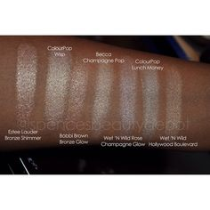 Swatches, yay! Here is #ChampagnePop in comparison with several other highlighters that I thought might be similar.