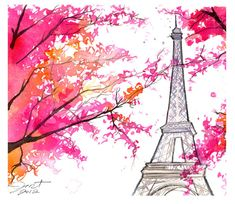 Paris for Grandma print from original by JessicaIllustration, $25.00 #paris #watercolor