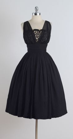 Vintage 1950s Miss Elliotte Black Chiffon Cocktail Dress