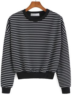Shop Round Neck Striped Black Sweatshirt online. SheIn offers Round Neck Striped Black Sweatshirt & more to fit your fashionable needs.