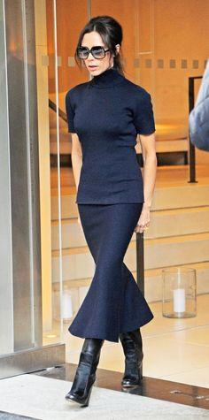 "Victoria Beckham 5'4"" A++ petite fashionista monochromatic."