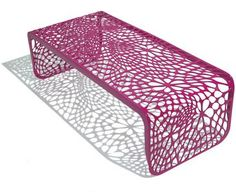 Coral Bench/Table by Arktura  beautiful AND the laser cut pattern is made of high-recycled content steel in a wind & solar powered production facility.,,,,