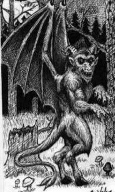 """The Jersey Devil is a legendary creature or cryptid said to inhabit the Pine Barrens of Southern New Jersey, United States. The creature is often described as a flying biped with hooves, but there are many different variations. The common description is that of a kangaroo-like creature with the head of a goat, leathery bat-like wings, horns, small arms with clawed hands, cloven hooves and a forked tail. It has been reported to move quickly and often is described as emitting a """"blood-curdling…"""