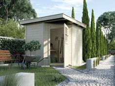 Gerätehaus WEKA Quinta Flachdach Gartenhaus Hol-Haus-Bausatz - Die praktische Lösung für die Ecke