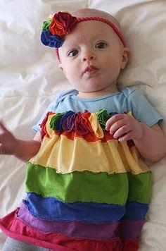 Rainbow jersey dress - love the rosettes!
