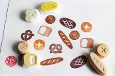 bakery rubber stamp set. bread hand carved rubber by talktothesun