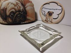 Vintage Small Square Glass Ashtray with etched H Monogram *NO RESERVE*