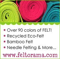 Blog has amazingly long list of felt crafts, including links to great food tutorials.