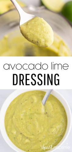 This avocado lime dressing adds a cool creamy citrus finish to any salad! Made with pure simple ingredients whipped up quickly in a blender, it's an easy, budget-friendly way to add a fresh healthy dressing to your growing list of homemade condiments! Easy Homemade Recipes, Fun Easy Recipes, Snack Recipes, Mexican Salad Dressings, Avocado Lime Dressing, A Food, Good Food, Make Ahead Lunches, On The Go Snacks