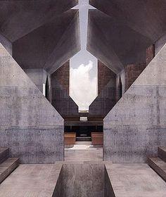 Sinagoga en Hurva, Render obra de Louis Kahn que no se llego a construir. Interesante el detalle en el techo, el hormigón como fondo, el cielo como figura, la gente se hubiera mojado, pero bueno...