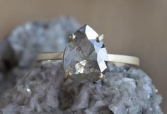 One of a Kind Natural Rose Cut Grey-Green Diamond Ring