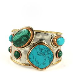 Natalie B. Jewelry Spiritual Multi-Stone Bracelet in Turquoise ($143) ❤ liked on Polyvore