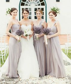 Lavender/grey, same style, all long, one shouldered bridesmaid dress