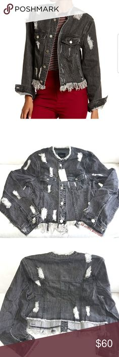 """Alpha & Omega Distressed Denim Jacket Layer your outfits with this distressed denim jacket that is a must have fashion essential.  - Split collar  - Front button closure  - Long sleeves with button cuffs  - 2 front chest pockets  - 2 side pockets  - Distressed details  - Frayed hem  - Approx. 20.5"""" length (size S) - Fiber Content: 100% cotton Care: Machine wash cold Additional Info Fit: this style fits true to size. Alpha & Omega Jackets & Coats Jean Jackets"""