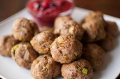 Thanksgiving Recipes : Herbed Turkey Meatballs with Cranberry Sauce ...