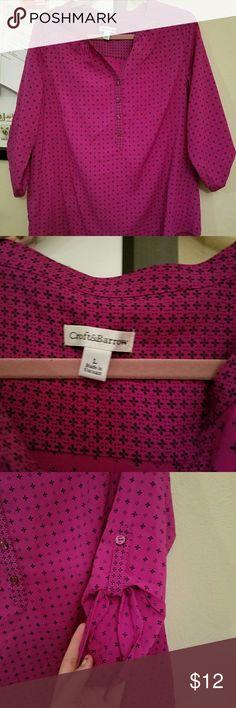 Magenta blouse Like new, navy print croft & barrow Tops Blouses