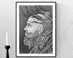 printable art by weilertsen Printable Art, Printables, Realistic Pencil Drawings, Long Beards, Guy Drawing, Handmade Items, Etsy Seller, Group, Board