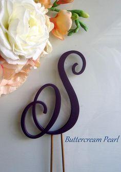 Letter Cake Topper Purple Monogram Rustic Cake Topper