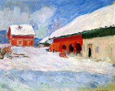 The Red Houses at Bjornegaard, Norway by Claude Monet (France)