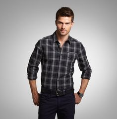 Long-Sleeve Heathered Check Shirt - Kenneth Cole