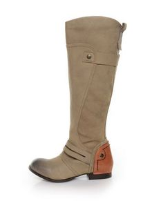 Distressed riding boots. Not quite Frye's, but these are an awesome and less expensive alternative.