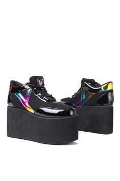 Y.R.U. Qozmo High Platform Sneaker in Black Multi | Y.R.U. Shoes | ShopAKIRA.com
