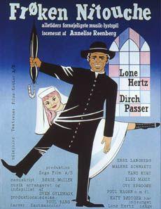Frøken Nitouche (1963) En ung pige på et kloster skal hjem og giftes, men på vejen hjem ender hun med at dublere i et teaterstykke.