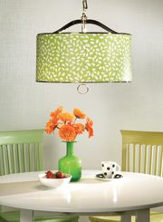 Your breakfast nook never looked so good! Cover your drum shade with a fun pattern.