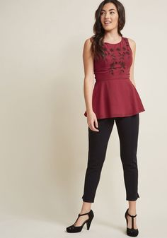 Embroidered Peplum Sleeveless Top - Do date night right, by wearing this burgundy tank top for a magical night out. Tastefully embroidered with black flowers and flirtatiously flaunting a peplum waistline, this chiffon blouse from our ModCloth namesake label will ensure that every glance your way brings a vision of chic confidence!