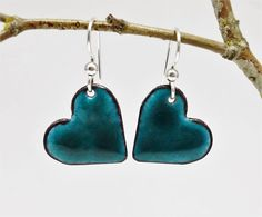 ❤ Heart shaped enamel earrings, made with glass enamel and recycled sheet copper. You will fall in love with these super cute dark teal color earrings! They are simple yet stylish and are perfect for every day wear. They include easy on, high quality sterling silver ear wires and