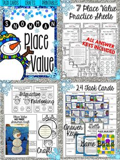 Snowman Place Value! Great practice sheets, craft, games, and task cards!