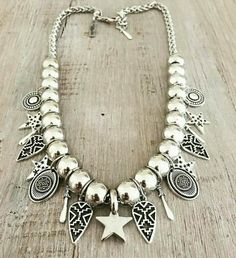 Collar Little Star Moon Jewelry, Silver Jewelry, Handmade Necklaces, Handmade Jewelry, Fashion Necklace, Fashion Jewelry, Bohemian Jewelry, Boho, Western Jewelry