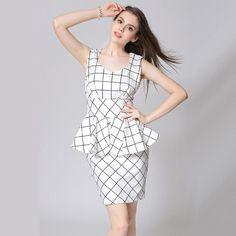 Laluna New 2015 High-end Women Dress Summer Ruffles Sleeveless Tank Dresses Work Plaid Dress Office Lady Vestidos Free Shipping