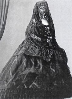 "Elisabeth Amalie Eugenie ""Sissi"" (1837-assassinated 1898) Bavaria, wife of Emperor Franz Joseph I Austria,  wearing a veil, 1862."