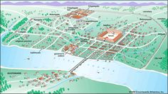 Map/Still:The Roman settlement of Londinium, shown as it was in about AD 200, eventually developed into the modern metropolis of London.
