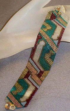 Art Deco Random Art - peyote stitch cuff bracelet pattern by SuJen on Etsy Bead Loom Bracelets, Beaded Bracelet Patterns, Jewelry Patterns, Beaded Necklaces, Peyote Stitch Patterns, Bead Loom Patterns, Beading Patterns, Beading Ideas, Loom Bracelets
