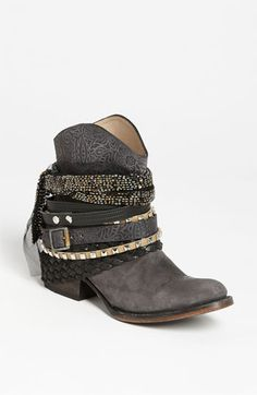 on Freebird by Steven 'Mezcal' Boot Artisanal laces and straps dominate a stand-alone boot with uncompromising attitude. Me Too Shoes, Botas Boho, Bootie Boots, Ankle Boots, Boot Bling, Cute Boots, Hippie Chic, Cowgirl Boots, Slippers