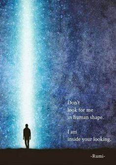 Don't look for me in human shape. I am inside your looking. - Rumi