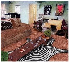 The livingroom PRE-murder..if you've seen the death photos of Sharon Tate & Jay Sebring..this is what the room looked like before they were killed.