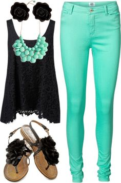 Black Lace Top + Black Studs + Turquoise Statement Necklace + Turquoise Skinny Jeans + Black Sandals