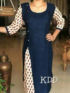 Love this layered/cutaway as inspiration for upcycling! Kurta Designs Women, Kurti Neck Designs, Dress Neck Designs, Salwar Designs, Blouse Designs, Salwar Pattern, Kurta Patterns, Dress Patterns, Chudidhar Designs