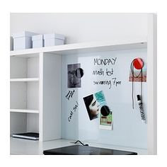 IKEA - MICKE, Add-on unit-high, white, , You can keep your desk clear of paper by writing your notes on the magnetic writing board on the back panel or fastening your to-do lists there with a magnet.Extra room above the top shelf where you can keep your books, CDs or DVDs. The side panels act as bookends and keep everything in place.You can adjust the shelves to fit different things, and adjust them again whenever you need to. Adjustable shelves help you use your space more efficiently.
