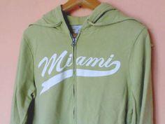 Old Navy hoodie women mens sweatshirts size L Green cotton unisex Miami pockets